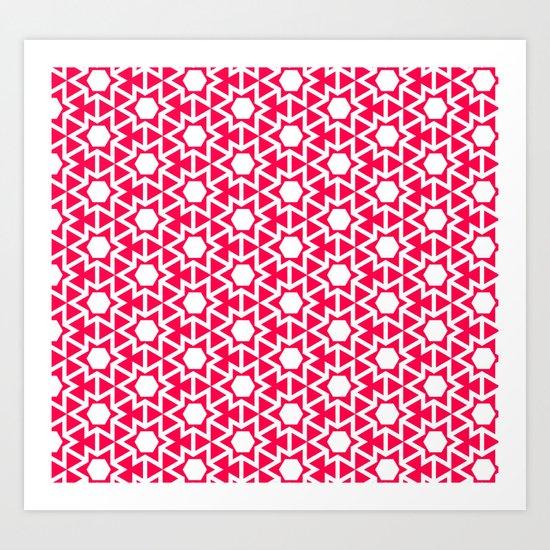 Zoutman Neon Pink Pattern Art Print