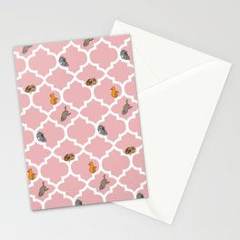 Cats on a Lattice - Pink Stationery Cards