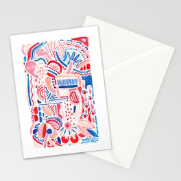 Red Moroccan inspired abstract pattern Stationery Cards