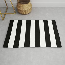 Abstract Black and White Vertical Stripe Lines 6 Rug