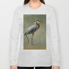 Great Blue At The Beach Long Sleeve T-shirt