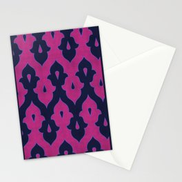 Mauresque Counterchange (Hot Pink - Navy) Stationery Cards