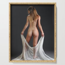 0760 Blond Art Model Lowers Sheer Fabric Drape Rear View Serving Tray