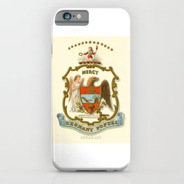 Historical Coat of Arms of Arkansas, 1876 iPhone Case