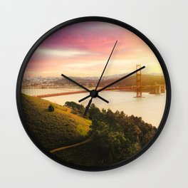 Golden Gate Bridge | San Francisco California Landscape Sunset Travel Photography Wall Clock