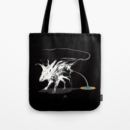 Rat and rainbow. White on dark on background - (Red eyes series) Tote Bag