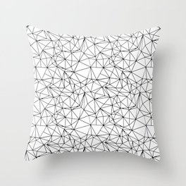Mosaic Triangles Repeat Seamless Pattern Black and White Throw Pillow