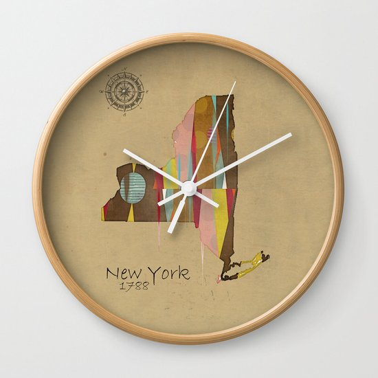 new york state map Wall Clock