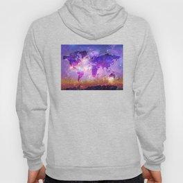 world map galaxy sky Hoody