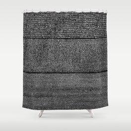The Rosetta Stone // Black Shower Curtain