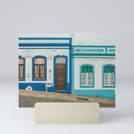 Turquoise Blue Houses in Lagos, Portugal Mini Art Print
