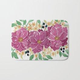 """Japanese Maple & Blueberry"" loose floral bouquet watercolor illustration Bath Mat"
