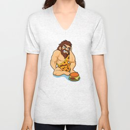 caveman fast food Unisex V-Neck
