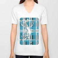 zebra V-neck T-shirts featuring Zebra  by mailboxdisco
