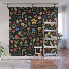 folky floral pattern on black Wall Mural