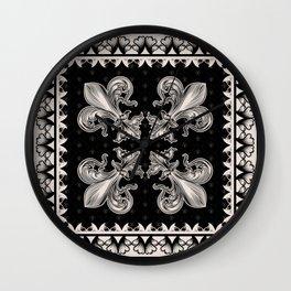 Fleur-de-lis - Black and Cream #2 Wall Clock