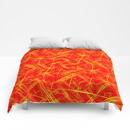 Bright yellow smooth curved lines on a red background for a festive summer and fiery mood. Comforters