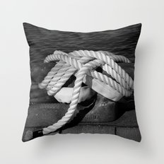 Mooring Rope tied to the dock Throw Pillow