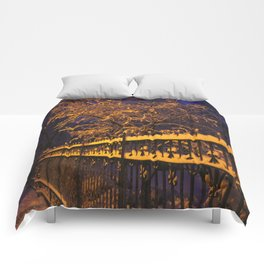 Chicago in Snow: Branches and Fences (Chicago Winter Collection) Comforters