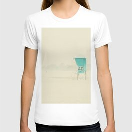 a lifeguard tower sits on a deserted Coronado Island beach on a winters day T-shirt