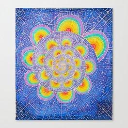 Rainbow Mandala Colorful Psychedelic Trippy Spiral Tapestry Painting Batik (Triametes Versicolor) Canvas Print