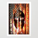 American Flag And Spartan Helmet On Rusted Metal Door - Molon Labe by molonlabecreations