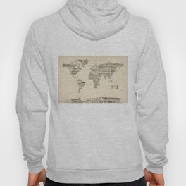 Old Sheet Music World Map Hoody