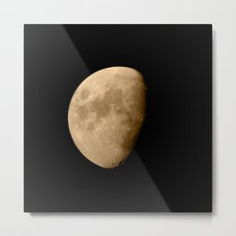 4K Dark Side of the Moon Golden Yellow Metal Print