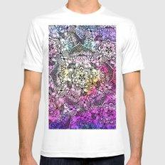 Floral mandala handdrawn pink nebula watercolor Mens Fitted Tee White MEDIUM