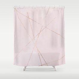 Geometrical blush pink rose gold glitter lines Shower Curtain