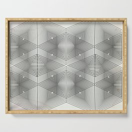 Optical Vibrations in Black and White Serving Tray
