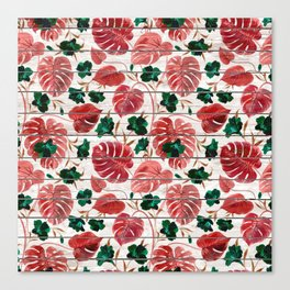 Rustic white wood red green tropical floral illustration Canvas Print