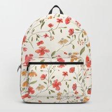 Red and Orange Vintage Floral Pattern Backpacks