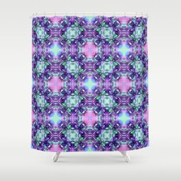 Purple and Turquoise Fractal Art Shower Curtain