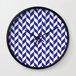 Herringbone (Navy Blue & White Pattern) Wall Clock