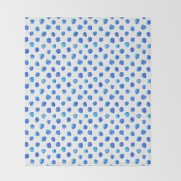 Watercolor Tie Dye Dots in Indigo Blue Throw Blanket