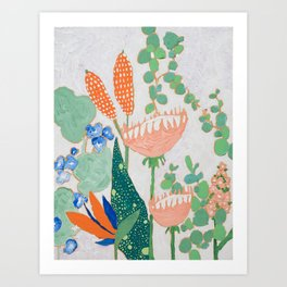 Proteas and Birds of Paradise Painting Art Print