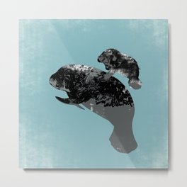 Manatee Mother and baby  Metal Print