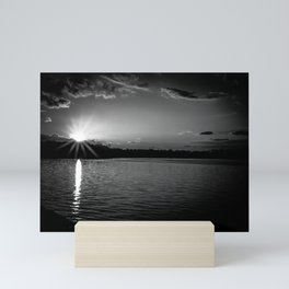 Sundown At Lake Heve 3 bw Mini Art Print