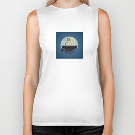 The little big boat on the sea, round blue design Biker Tank
