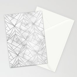 Geometric Silver Pattern on Marble Texture Stationery Cards
