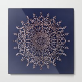 Navy Blue and Rose Pink Tulip Boho Mandala Metal Print