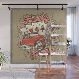 Vector grunge vintage illustration, poster with four card aces, retro car and old microphone Wall Mural