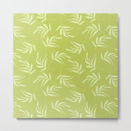 Chartreuse leaves pattern Metal Print