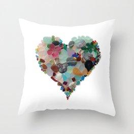 Love - Original Sea Glass Heart Throw Pillow