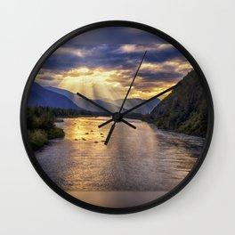 Portage River Sunset - Alaska Wall Clock
