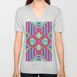 Checkerboard Squares Abstract Unisex V-Neck