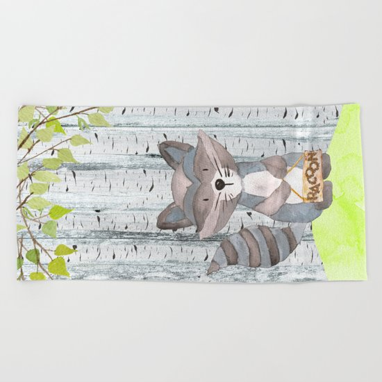 The adorable Racoon- Woodland Friends- Watercolor Illustration Beach Towel