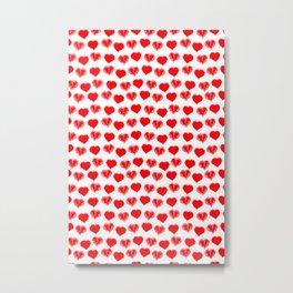 scribbled red hearts polkadots Metal Print