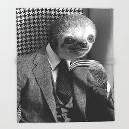 Gentleman Sloth in fancy armchair Throw Blanket